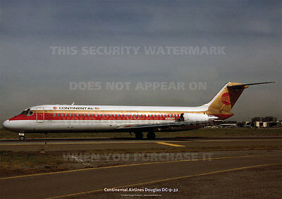CONTINENTAL AIRLINES DOUGLAS DC-9-32 DC9 A3 POSTER PRINT PICTURE PHOTO IMAGE x