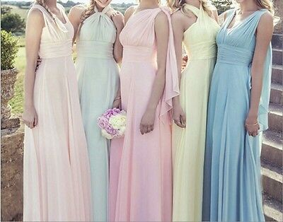New Blue pink green Yellow Bridesmaid Evening  Ball Gown Formal Party Dress