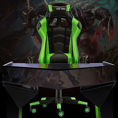 New High Back Racing Gaming Chair Bucket Seat Office Computer Desk Chair Green