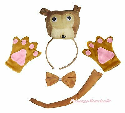 Halloween Coffee Brown Bear Headband Bow Tail Paw Kid Child School Party Costume