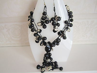 Ethnic South American New Black and White Necklace and Earrings Set