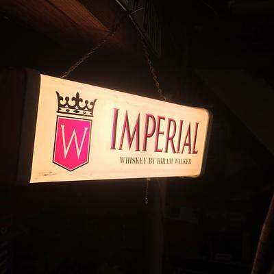 Rare Vintage Hiram Walker Imperial Whiskey Light Up Sign. Pull Chain Light. LooK