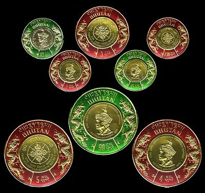 BHUTAN 1976-Round Shaped Gold Coin Postage Stamps-8 Different Green & Red, MNH