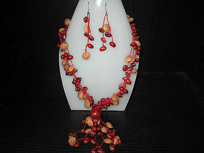 Ethnic South American New Red and Tan Necklace and Earrings