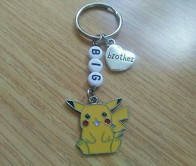 'Big Brother' Keyring with a Pikachu Pokemon Enamel Charm - New Brother Gift