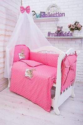 Baby Nursery Bedding Set FOR COT PILLOW DUVET COVER BUMPER Bunny Pink 120x60