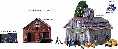 N Scale Barn, Chicken Coop & Shed Model Railway Building Kit - NOB3