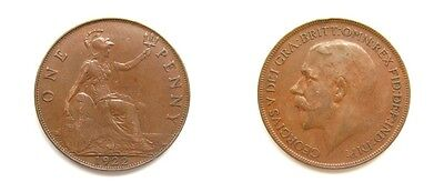 George V 1922 Bronze Penny - Raised Dot On Middle Trident - Very Rare