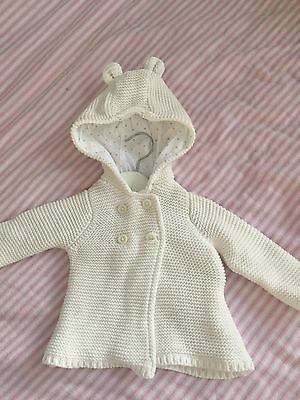 Target Baby White Cream Knitted Cardigan Jacket Ears Size 3-6 Months 00 Girl Boy
