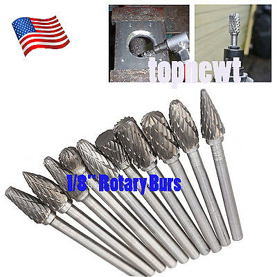 "US 10Pcs 1/8"" Tungsten Steel Carbide Burrs Die Grinder Drill Bits Rotary Tool"