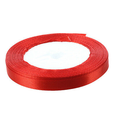 "3/8"" 10mm 25 Yards Satin Ribbon Roll Wedding Party Craft DIY Decoration Red W1D9"