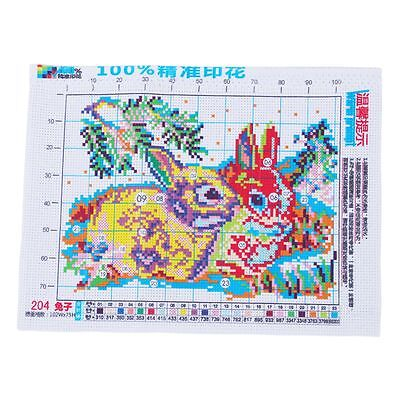 Rabbit Grass Pattern Stamped Cross Stitch Counted Kit for Lady Woman F4C1