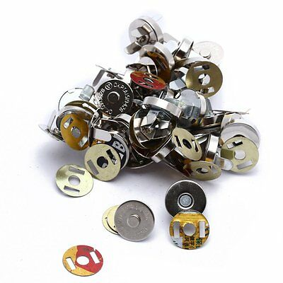 20x Silver Magnetic Clasps Snaps Buttons for Purses Handbag Bag Sewing Craf S1I8