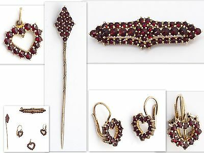 Antique Bohemian Set Silver 900 Gold Plated Garnet Brooch Pin Earring Pendant