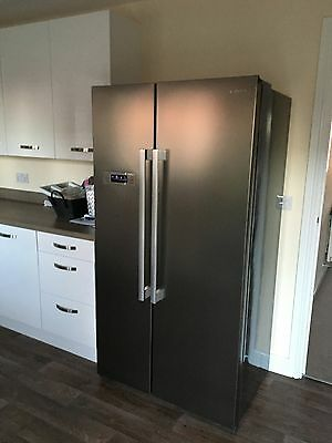 Kenwood Brushed Stainless Steel Side by Side American Style Fridge Freezer Used