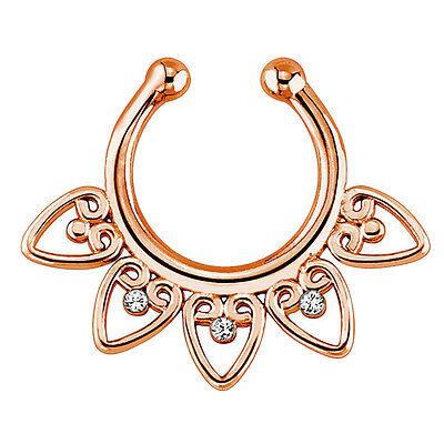 3 x Fake Non-Piercing Tribal Septum Nose Clip-On Ring Body Jewelry BT F2C2
