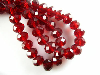 500pc 4x6mm Dark Red AB Rondelle Faceted Crystal Glass Loose Beads