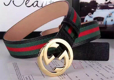 New:/Gucci Men's Green Red Black Leather Belt size 100CM