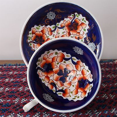 Antique Gaudy Welsh Cup & Saucer -Numbered #101 - Small Fault