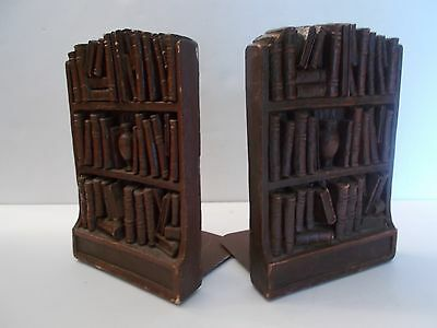 Pair of Vintage Syroco Wood BOOKS Bookends