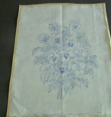 Vintage Large Linen Embroidery - Pansies