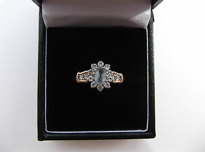 Beautiful 9ct Gold Blue Topaz And Cubic Zirconia Ring Size P