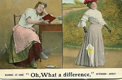 1908 postcard Morning and afternoon ladies fashion