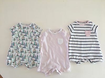 3 x Girls Next Rompers. Up To 1 Month. New