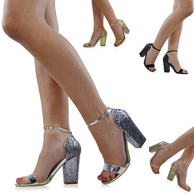 Womens Ankle Strap Sandals Glitter Block Heel Ladies Open Toe Party Shoes Size