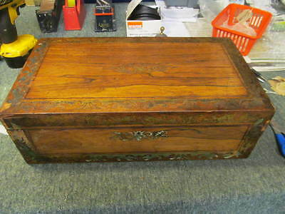 LARGE ANTIQUE VICTORIAN  BRASS INLAID  WRITING SLOPE BOX - for restoration