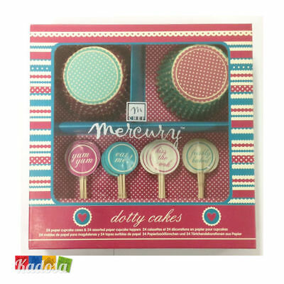 Set 24 Pirottini Cupcake DOTTY Topper Abbinato in Scatola Regalo Muffin Cupcakes