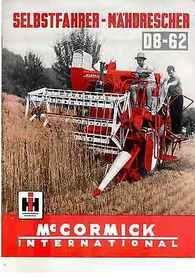 ORIGINAL PROSPEKT BROCHURE McCORMICK INTERNATIONAL D8-62 MÄHDRESCHER
