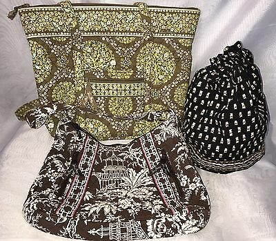 Vera Bradley Tote Shoulder Bags Lot of 3 Retired Patterns Craft or Carry NICE!