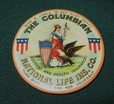 """Scarce """"the Columbian National Life Ins Co"""" Celluloid Pocket Mirror Patriotic"""