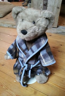 """Chad Valley Bear. With Dressing Gown And Stand. 15"""" Tall."""