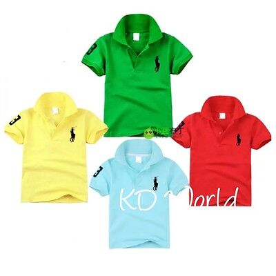 New sports kids Polo Shortsleeve tops boys girls clothes cotton 2-10yrs