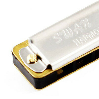 Single Row 4 Holes Harmonica Muscial Instrument w Necklace S9 X5B3