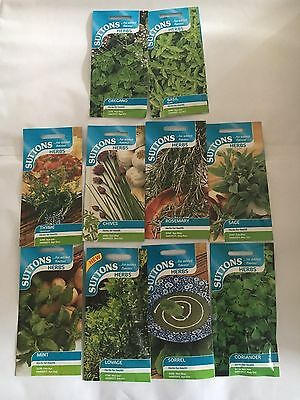 10 x Suttons Mixed Packets Herbs - Oregano, Thyme, Basil, Chives, Mint, Sage +