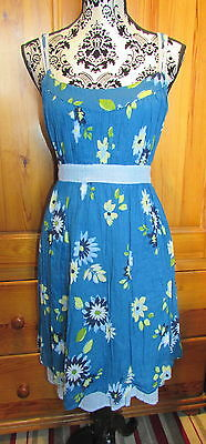 Ladies Summer Blue Cotton Lightweight Dress UK 16 M&S BNWT