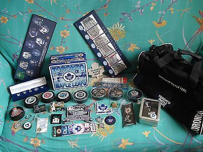 Toronto Maple Leaf Ice Hockey Memorabilia - Watch Pins Badges Pucks Plaques Bag