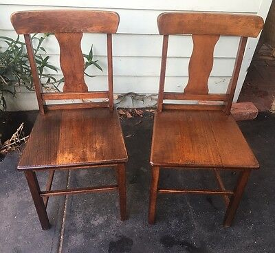 antique Kitchen Chairs Pair Wooden