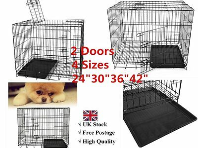 """24/30/36/42"""" Folding Dog Cage Pet Puppy Crate Travel Carrier Training & Sleeping"""