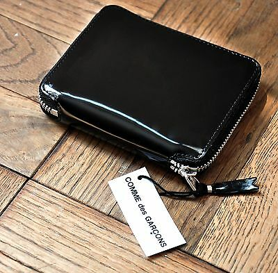 Comme des Garçons Small Leather Wallet - Black w silver lining zip around NWT