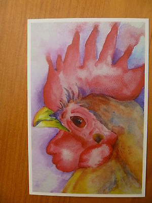 Postcard....chook...hen..chicken...rooster..poultry..watercolor Artistic
