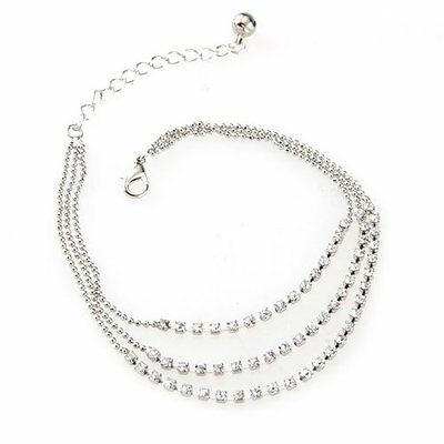 BT Silver Tone 3 Row Crystal Chain Anklet Ankle Bracelet HOT Q2S7