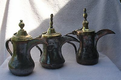 3 ANTIQUE ISLAMIC ARABIA BRASS COEFFE POT DALLAH Brass Tin Copper