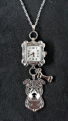 Staffordshire Terrier, Pitbull,  Dog, Clock, Watch, Necklace, Pendant, Chain 22""