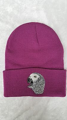 African Grey Parrot Bird Embroidered on a Fusia Beanie