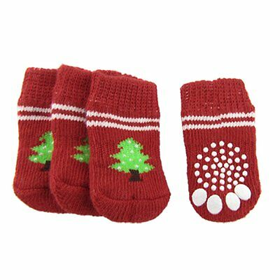 BT Red White Nonslip Christmas Tree Print Pet Dog Knitted Socks A6A5