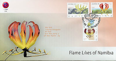 Namibia 2017 FDC Flame Lilies 3v Set Cover Lily Flora Flowers Stamps